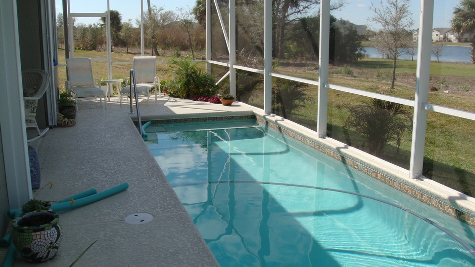 pool with view of lake
