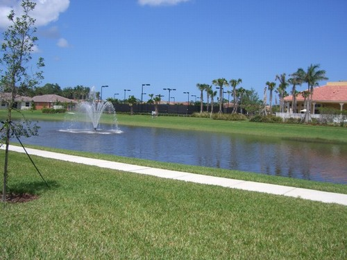 view of fountain and clubhouse